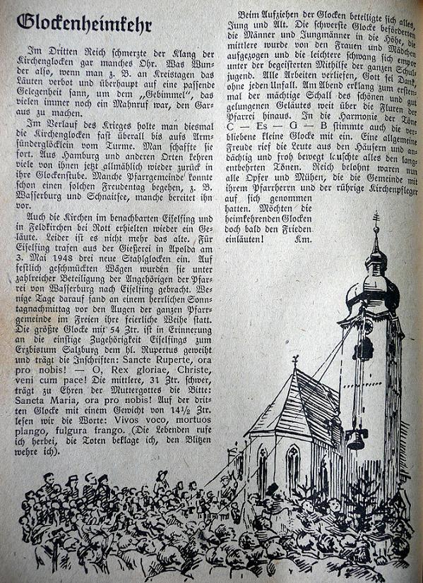 Heimkehr der Glocken nach Kircheiselfing nach dem 2. Weltkrieg