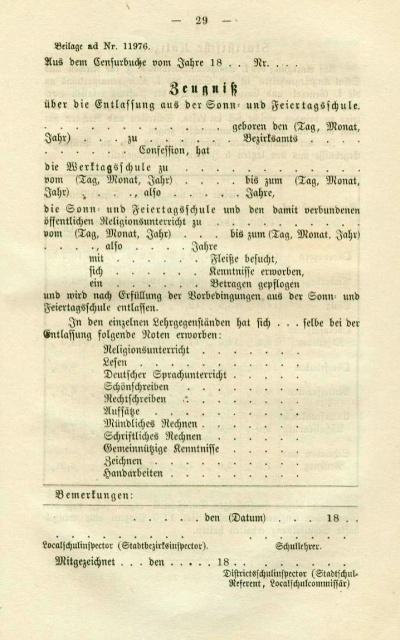 altes Zeugnisformular aus dem Jahre 1865
